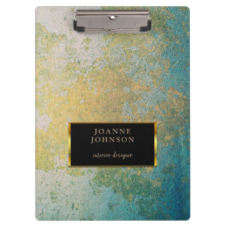 Gold & turquoise stone geode pattern personal clipboard