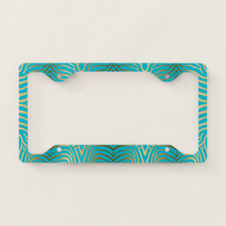 Gold & turquoise tones abstract zebra pattern license plate frame