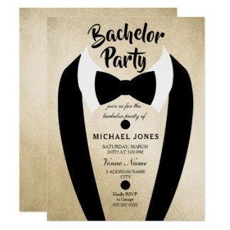 Gold Tuxedo Bow Tie Bachelor Party Invite