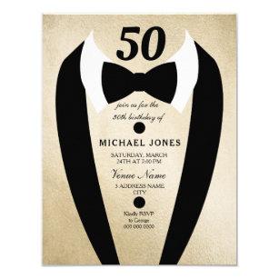 Gold Tuxedo Mens 50th Birthday Party Invitation