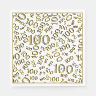 Gold Typography Any 100th Event Party/Celebration Disposable Napkin