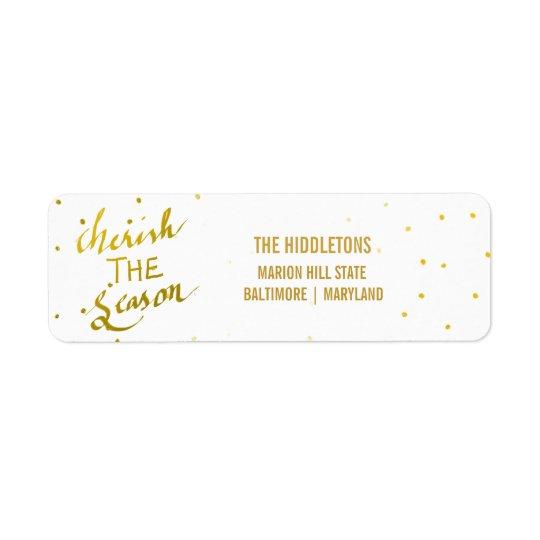 Gold Typography Cherish The Season Script Photo Return Address Label