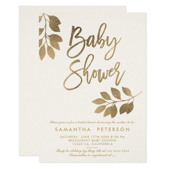 Gold typography leaf beige ivory Baby shower Card