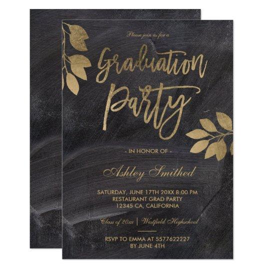 Gold typography leaf black chalk graduation party card