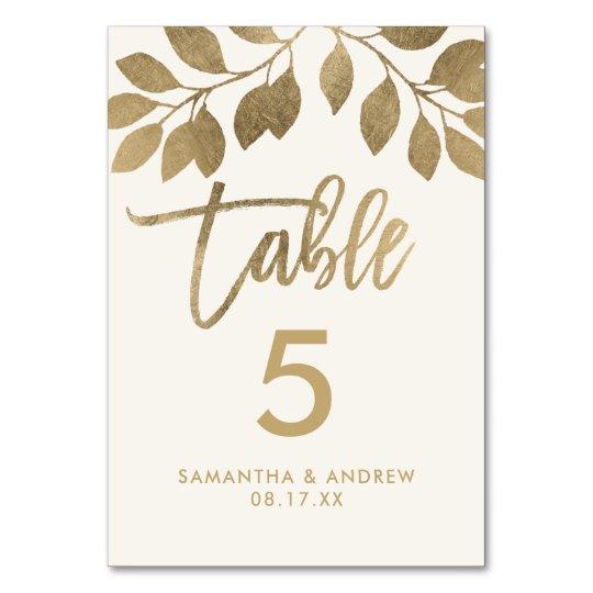 Gold typography leaf ivory beige table number