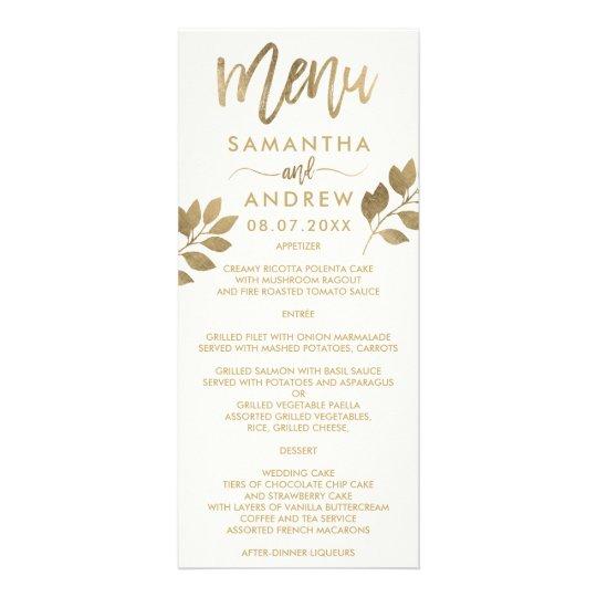 Gold typography leaf ivory beige wedding menu