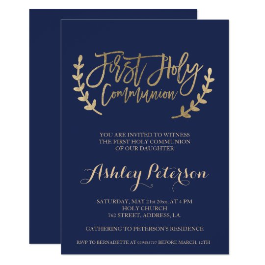 Gold typography navy blue First Holy Communion Card