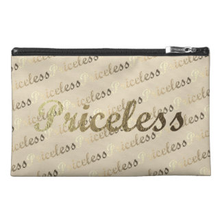 Gold Typography: Priceless Travel Accessory Bag