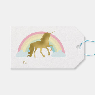 Gold Unicorn Birthday Gift Tags