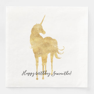 Gold Unicorn Birthday Paper Dinner Napkin