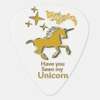 Gold unicorn pony horse with Golden stars Guitar Pick