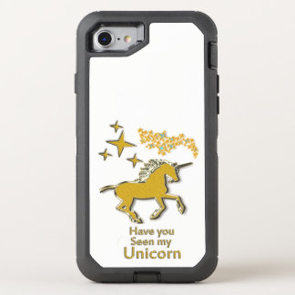 Gold unicorn pony horse with Golden stars OtterBox Defender iPhone 8/7 Case