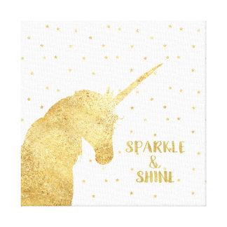 Gold Unicorn Stars Sparkle and Shine Canvas Print