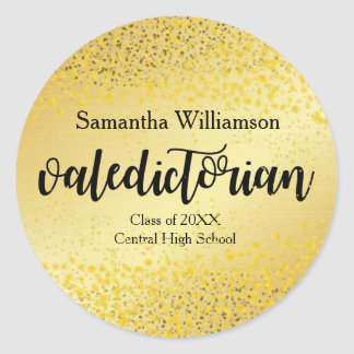 Gold Valedictorian Personalized Gold Sticker