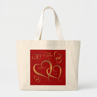 Gold Valentine Hearts Large Tote Bag