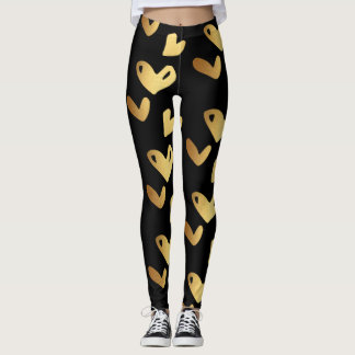 Gold Valentine Hearts Leggings