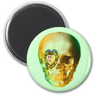 Gold Valentine Skull 2 Inch Round Magnet
