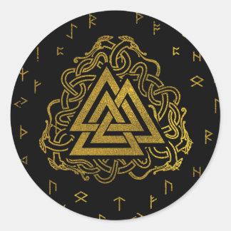 Gold Valknut Symbol on Runes Pattern Classic Round Sticker
