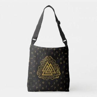 Gold Valknut Symbol on Runes Pattern Crossbody Bag