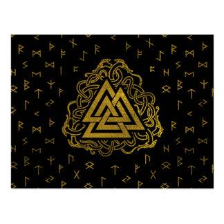Gold Valknut Symbol on Runes Pattern Postcard