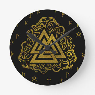 Gold Valknut Symbol on Runes Pattern Round Clock