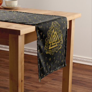 Gold Valknut Symbol on Runes Pattern Short Table Runner