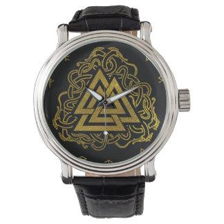 Gold Valknut Symbol on Runes Pattern Watch