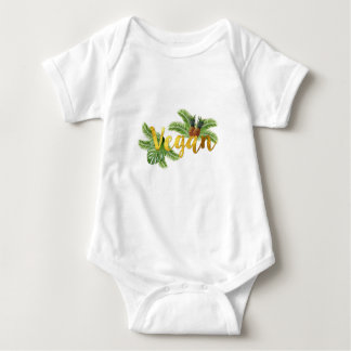 Gold Vegan with Pineapples Baby Bodysuit