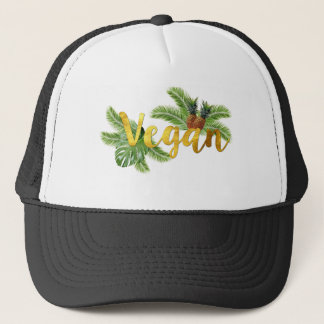 Gold Vegan with Pineapples Trucker Hat