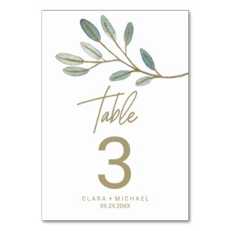 Gold Veined Eucalyptus Table Number