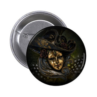 Gold Venetian carnival mask with blue hat 2 Inch Round Button