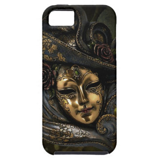 Gold Venetian carnival mask with blue hat iPhone 5 Case
