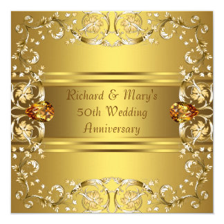 "Gold Victorian Flowers Gold 50th Anniversary 5.25"" Square Invitation Card"