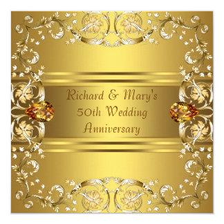 Gold Victorian Flowers Gold 50th Anniversary Custom Invitations