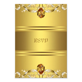 "Gold Victorian Flowers Gold 50th Anniversary RSVP 3.5"" X 5"" Invitation Card"