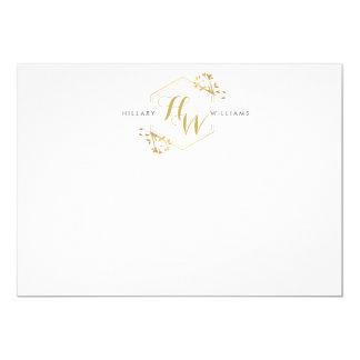 "Gold Vine and Leaf Monogram Emblem Flat Notecard 5"" X 7"" Invitation Card"