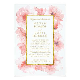 "Gold Vintage Blush Floral Wedding 5"" X 7"" Invitation Card"