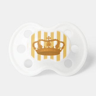 Gold Vintage Crown Gold Stripes Baby Gift A013 Pacifier