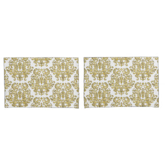 Gold Vintage Damask on Any Color Pillowcases