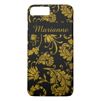 Gold Vintage Damask Pattern On Black Personalized iPhone 7 Plus Case