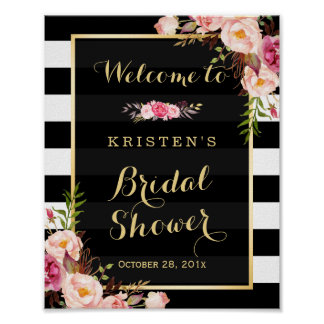Gold Vintage Floral Stripes Bridal Shower Sign