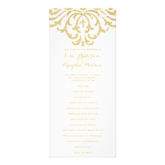 Gold Vintage Glamour Elegance Wedding Program Rack Card Design