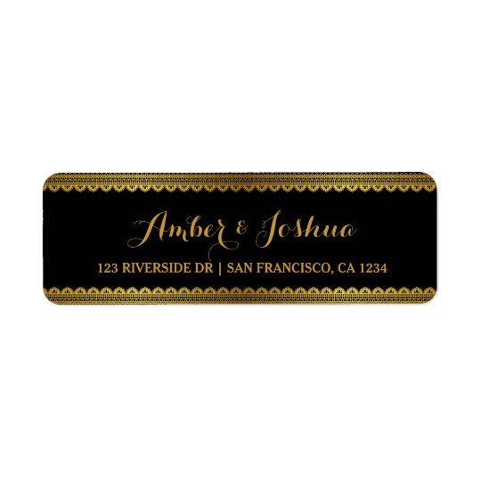 Gold Vintage Lace Gatsby Return Address Label