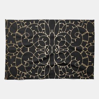Gold vintage lace scroll design on black kitchen towel