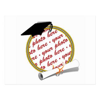 Gold w Black White Graduation Photo Frame Postcard
