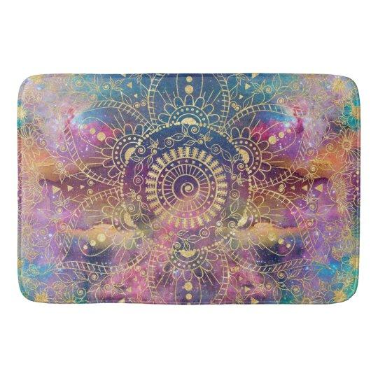 Gold watercolor and nebula mandala bath mat