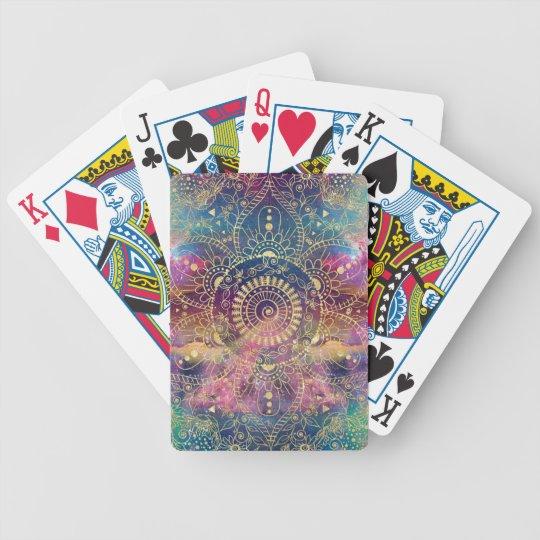 Gold watercolor and nebula mandala bicycle playing cards