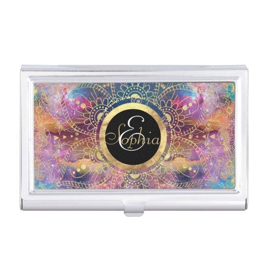 Gold watercolor and nebula mandala business card holder