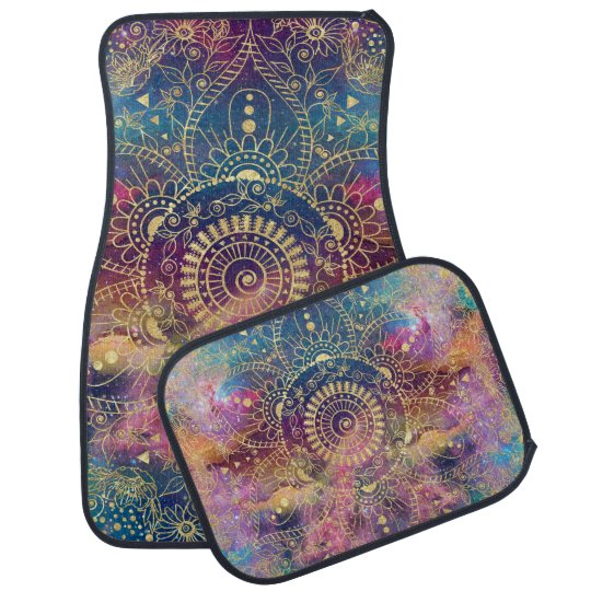Gold watercolor and nebula mandala car mat