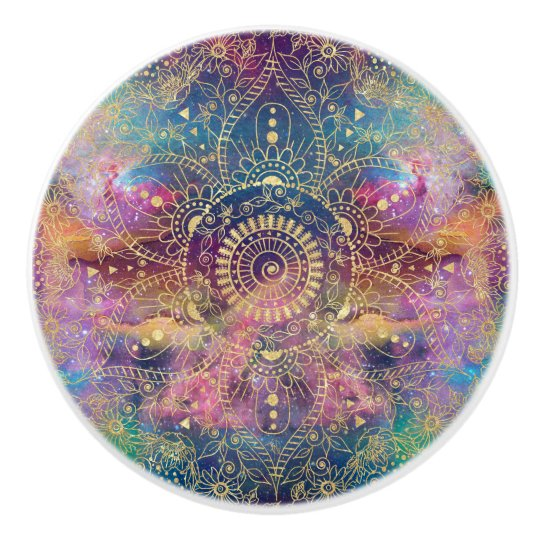 Gold watercolor and nebula mandala ceramic knob